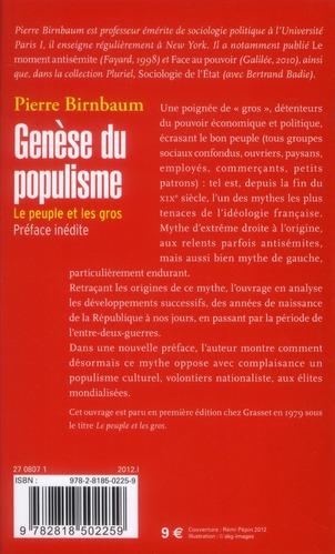 Genèse du populisme ; le peuple et les gros