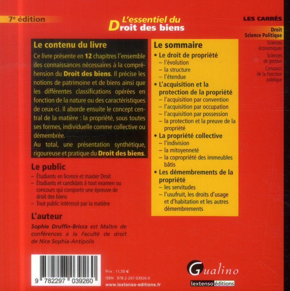 L'essentiel du droit des biens (7e édition)