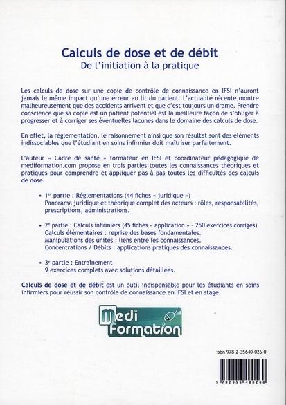 Calculs De Doses Et De Debits De L Initiation A La Pratique Jerome Clement Setes Grand Format Le Hall Du Livre Nancy