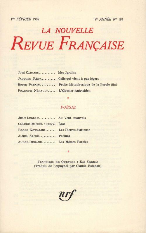 La Nouvelle Revue Française n° 194 (Février 1969)