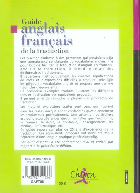 Guide anglais-francais de traduction