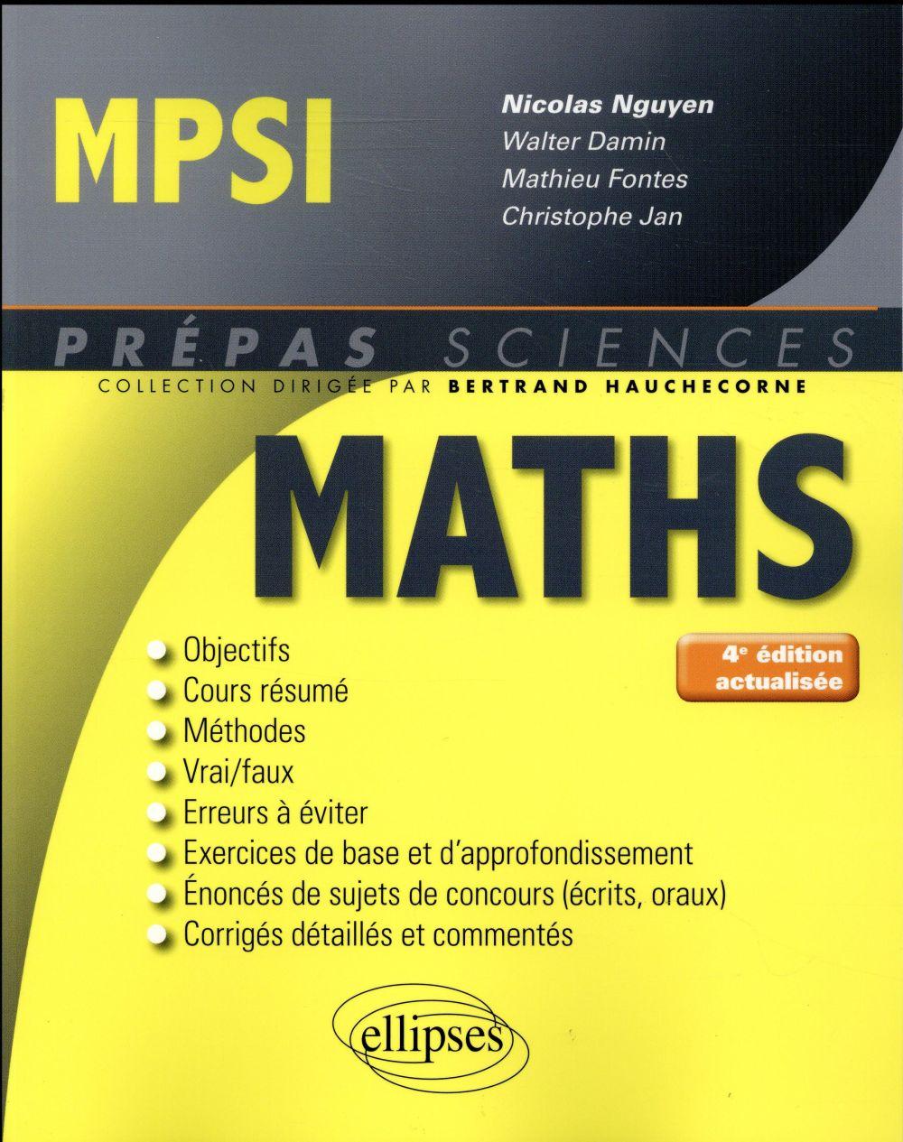 prépas sciences ; mathématiques ; MPSI (4e édition)