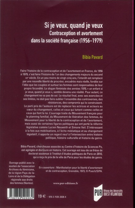 si je veux quand je veux ; contraception et avortement dans la société française (1956-1979)