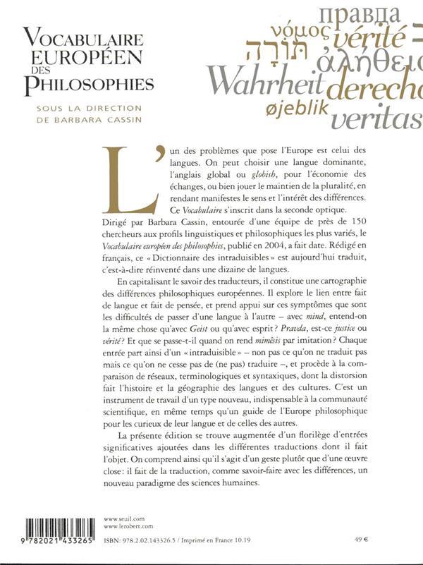 vocabulaire européen des philosophies ; le dictionnaire des intraduisibles