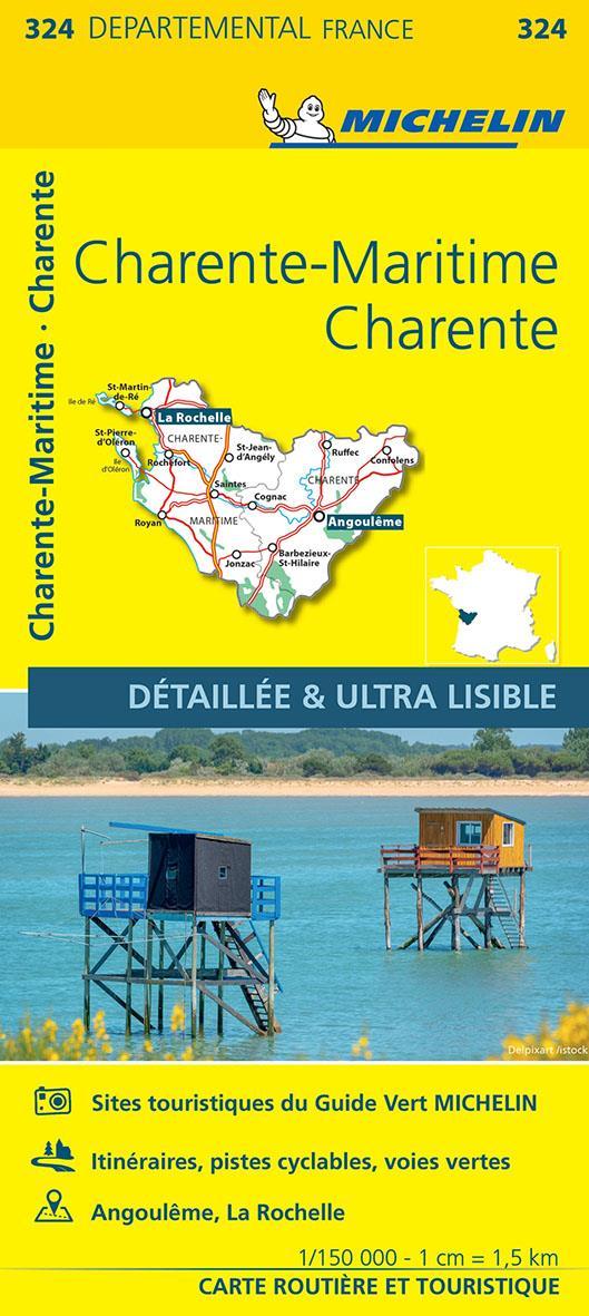 CARTE DEPARTEMENTALE 324 CHARENTE  CHARENTE-MARITIME