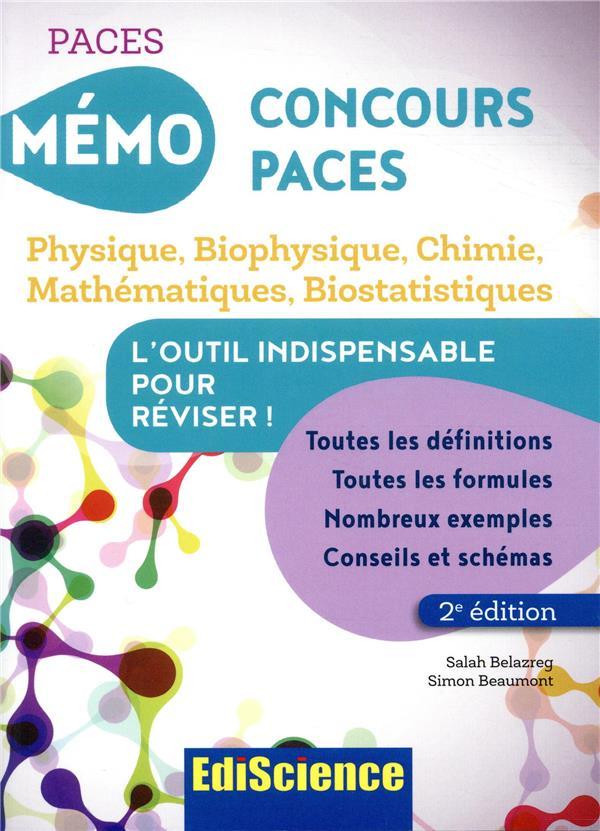 5 - mémo concours t.1 ; mémo concours paces ; physique, biophysique, chimie, mathématiques, biostatistiques (2e édition)