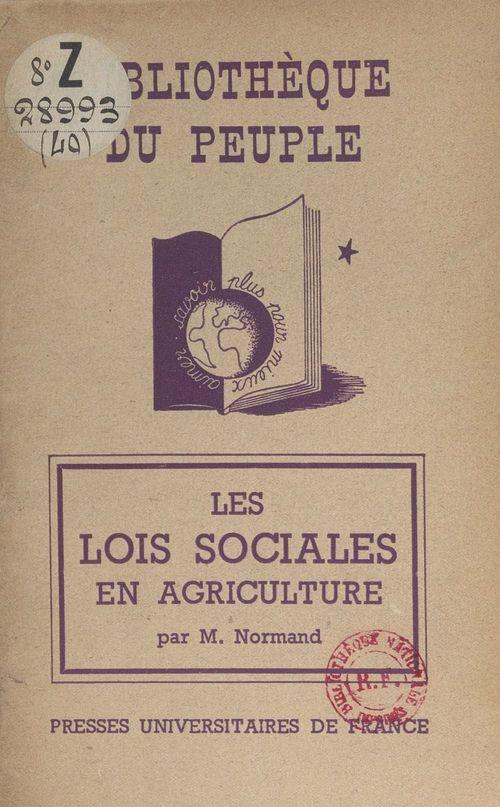 Les lois sociales en agriculture