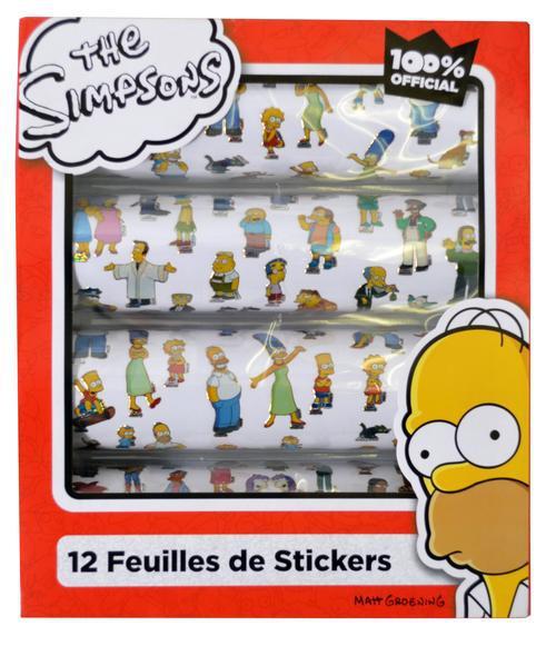 Les Simpson ; 12 feuilles de stickers ; coffret
