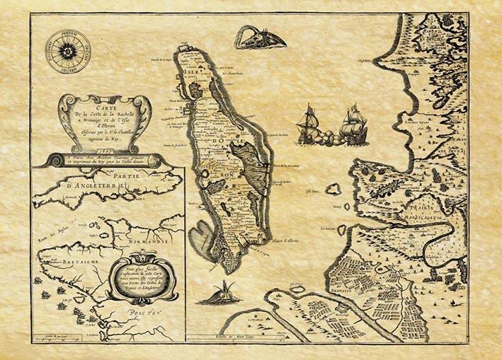 Ile d'oleron en 1627 carte de navigation