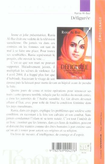 Defiguree Quand Un Crime Passionnel Devient Affaire D Etat Rania Al Baz Michel Lafon Grand Format Place Des Libraires