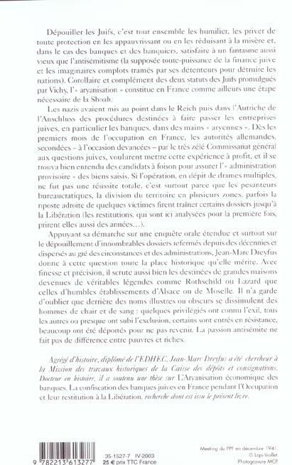 Pillages sur ordonnances - aryanisation et restitution des banques en france (1940-1953)