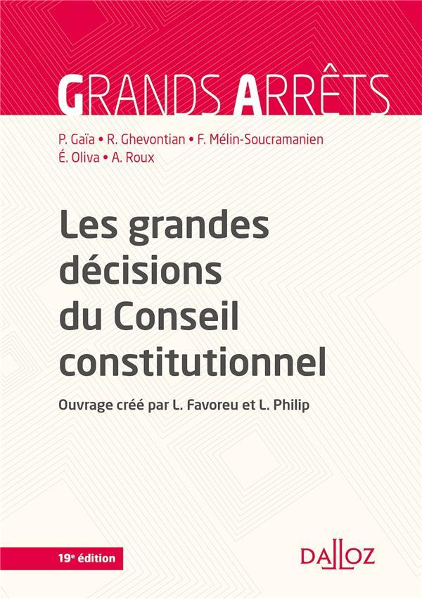 Les grandes décisions du conseil constitutionnel (19e édition)
