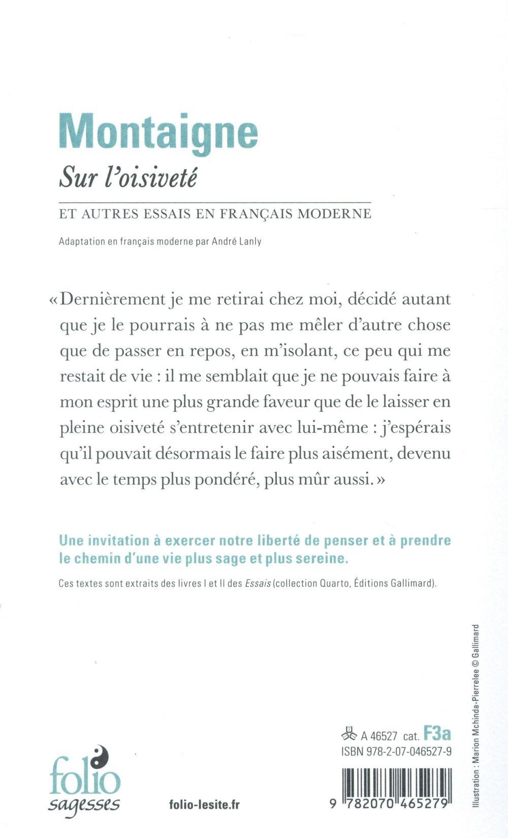 sur l'oisivete et autres essais en francais moderne