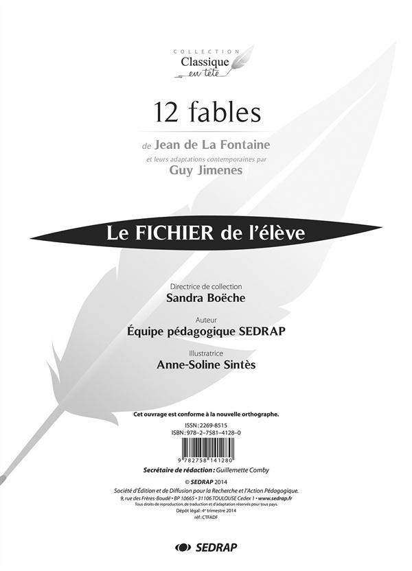 12 fables de jean de la fontaine - fichier