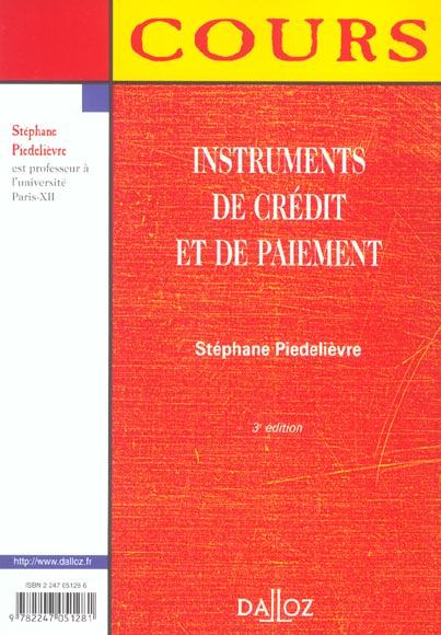 Instruments de credit et de paiement ; 3e edition