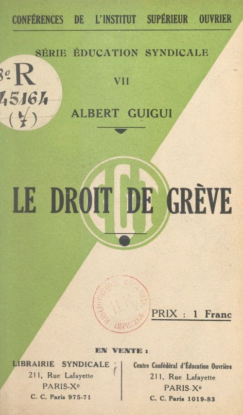 Vente Livre Numérique : Le droit de grève  - Albert Guigui