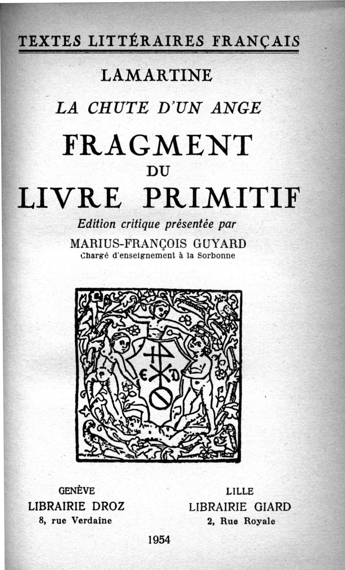 La Chute d´un Ange  - Lamartine