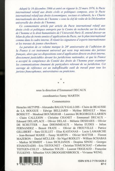 Le pacte international relatif aux droits civils et politiques ; commentaire article par article