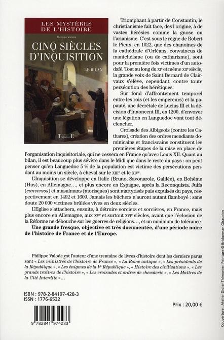 Cinq siècles d'inquisition ; le bilan