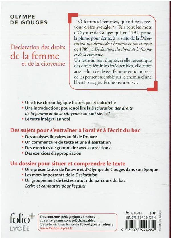 Déclaration des droits de la femme et de la citoyenne ; bac 2022