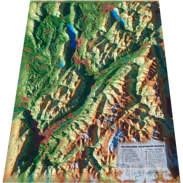 Carte en relief des Bauges-Belledonne-Chartreuse