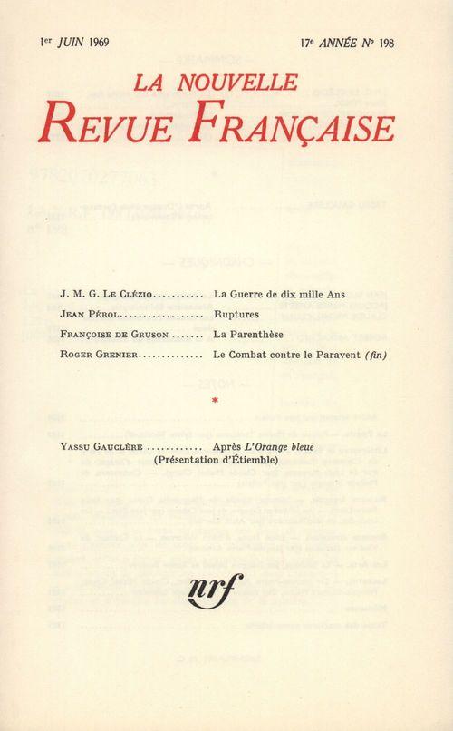 La Nouvelle Revue Française n° 198 (Juin 1969)