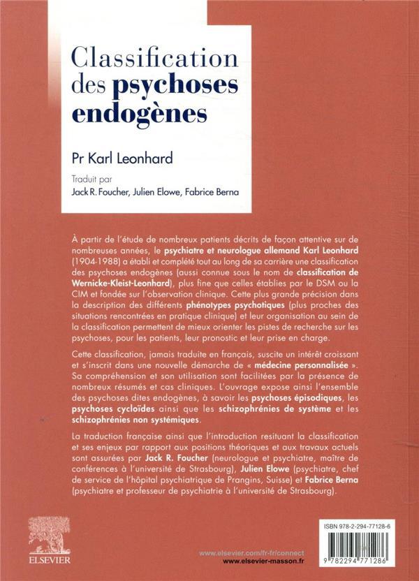 Classification des psychoses endogènes
