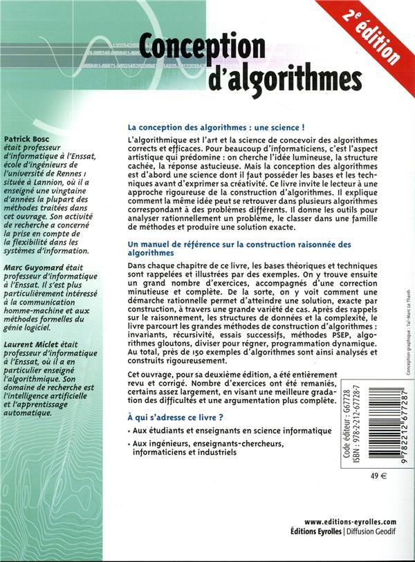 Conception d'algorithmes ; principes et 150 exercices corrigés (2e édition)