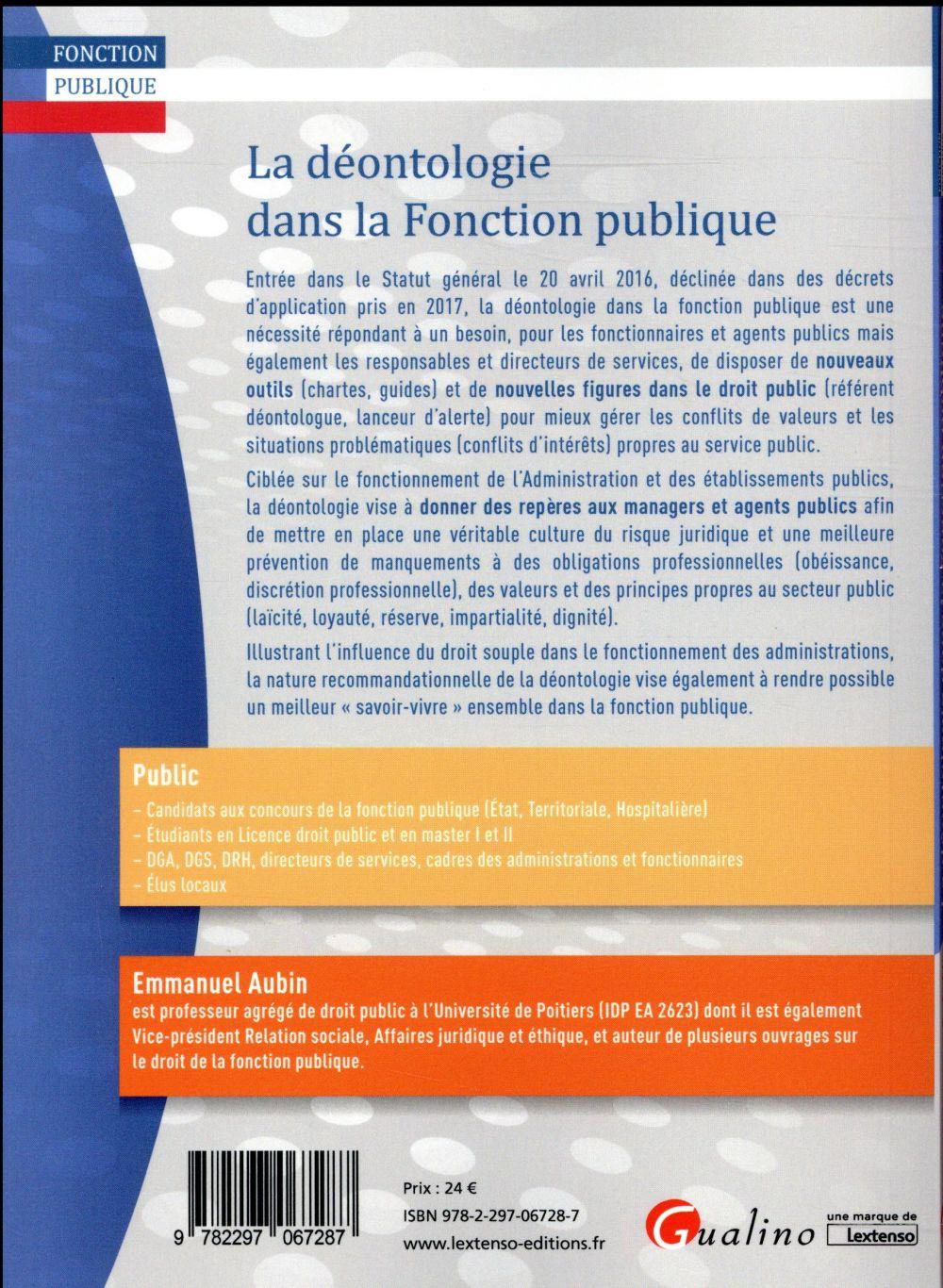 788db8fe9ad La déontologie dans la fonction publique - Emmanuel Aubin - Gualino ...