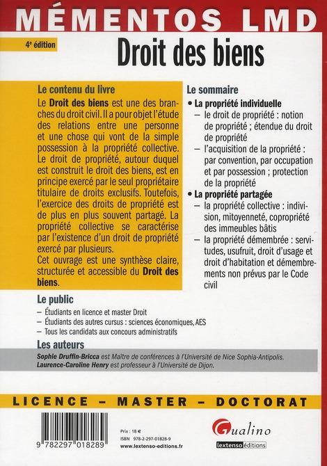 Droit des biens (4e édition)