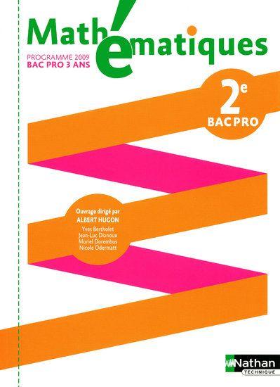 Mathématiques ; 2e bac pro ; pochette de l'élève ; programme 2009
