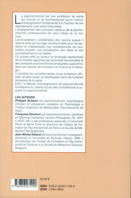 Manuel d'enseignement de psychomotricité t.1