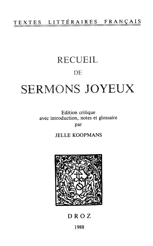 Recueil de sermons joyeux  - Jelle Koopmans