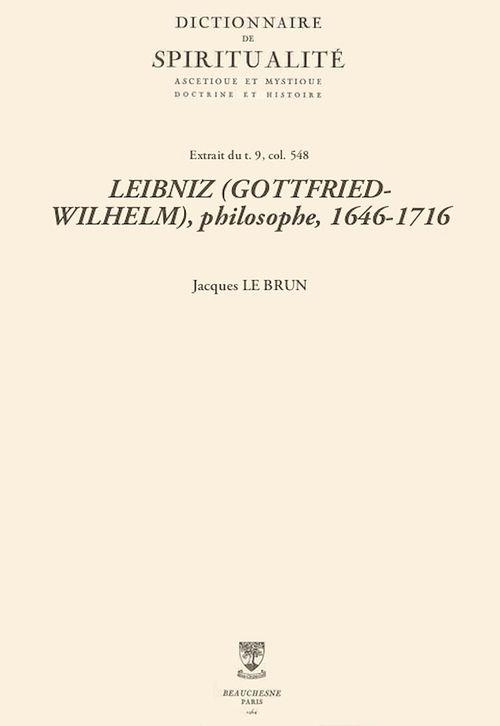 LEIBNIZ (GOTTFRIED-WILHELM), philosophe, 1646-1716