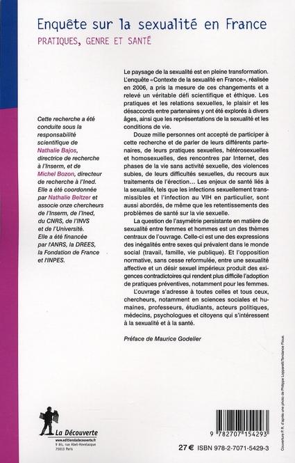 Enquête sur la sexualité en France ; pratiques, genre et santé