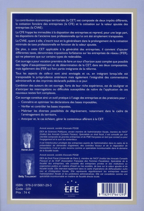 La contribution économique territoriale ; déclarer, contrôler et constester les CFE, CVAE et IFER