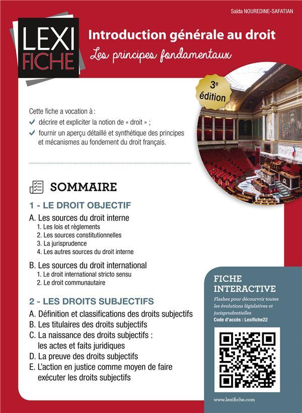Introduction Generale Au Droit ; Les Principes Fondamentaux (3e Edition)