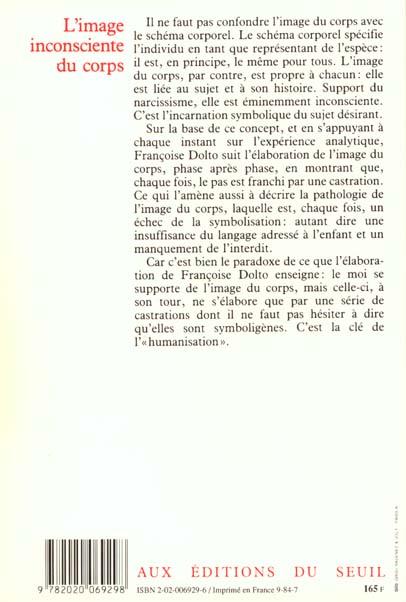 L Image Inconsciente Du Corps Francoise Dolto Seuil Grand Format Paris Librairies