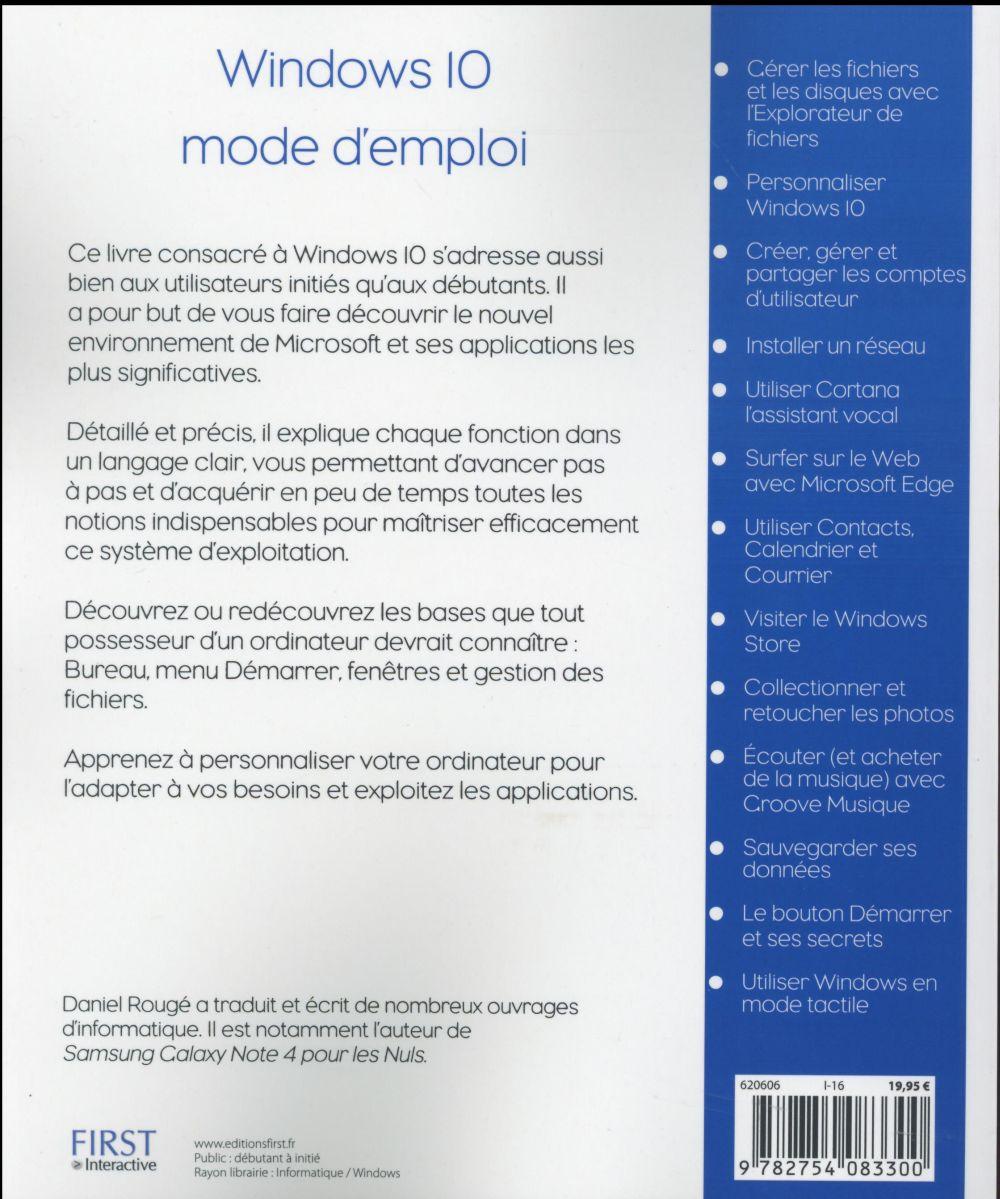 Windows 10 ; mode d'emploi