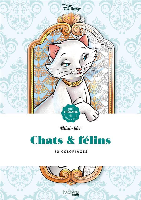 Art-thérapie ; mini-bloc ; chats & félins ; 60 coloriages