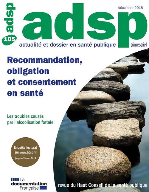 Revue ADSP ; recommandation, obligation et consentement en santé