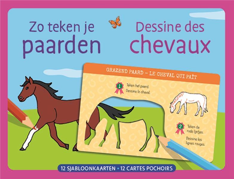 dessine des chevaux ; 12 cartes pochoirs