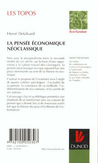 La pensee economique neoclassique