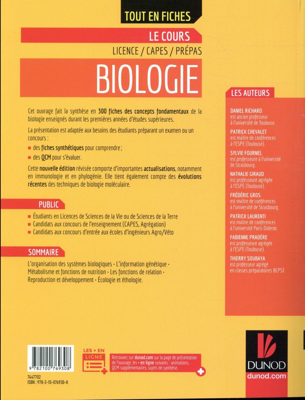 Biologie ; tout le cours en fiches (4e édition)