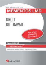 Vente Livre Numérique : Droit du travail 2016-2017 - 12e édition  - François Duquesne