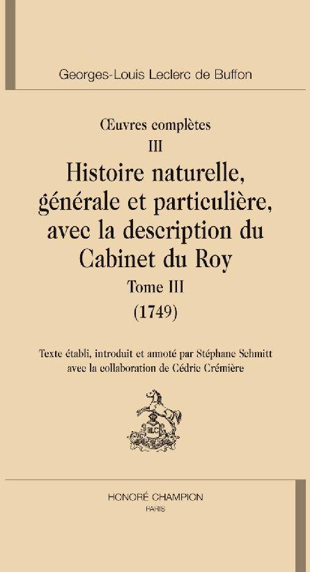 Oeuvres complètes t.3 ; histoire naturelle t.3