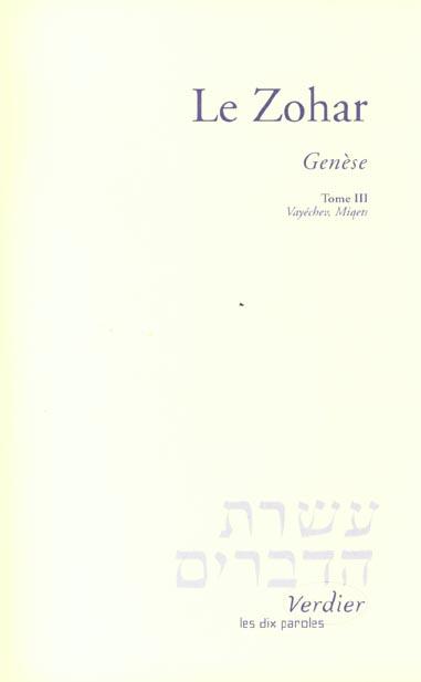 Le Zohar ; génèse t.3