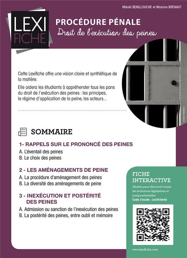 Procedure Penale Le Droit De L Execution Des Peines Mikael Benillouche Enrick B Grand Format Dalloz Librairie Paris