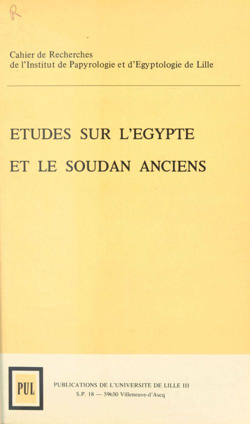 Cripel 4 : etudes sur l'egypte et le soudan anciens