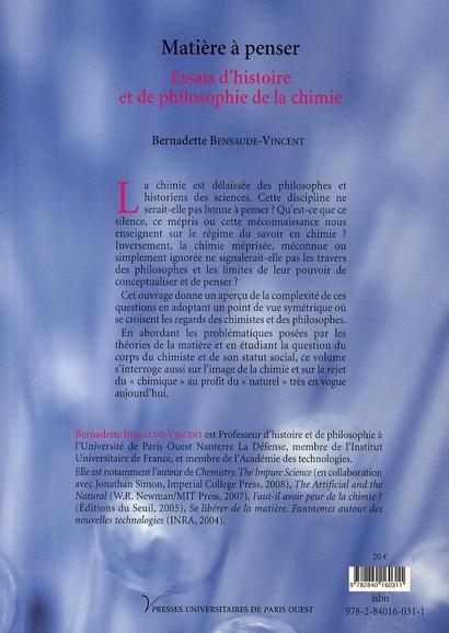 Matière à penser ; essais d'histoire et de philosophie de la chimie
